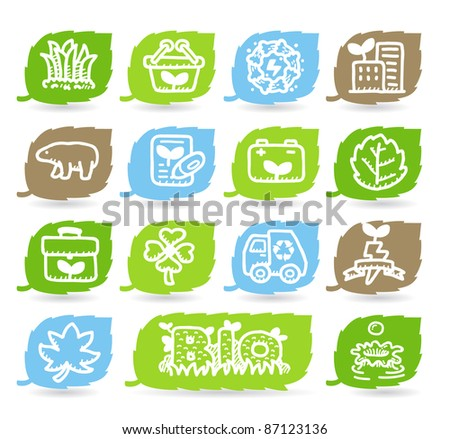 hand drawn ECO,Green environment icon set - stock vector