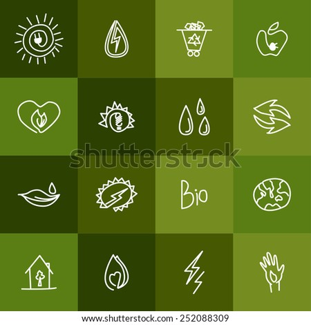 Hand drawn ecology icons. Vector doodles set - stock vector