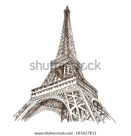 Hand drawn Eiffel Tower. Paris, vector illustration - stock vector