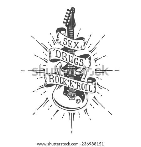Hand drawn electric guitar with ribbon and text. Heavy metal style.  - stock vector