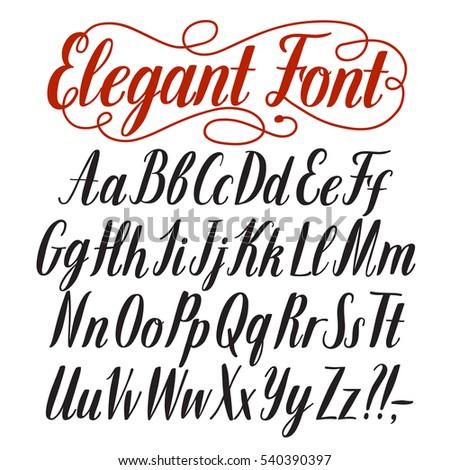 Hand Drawn Elegant Calligraphy Vector Abc Stock Vector