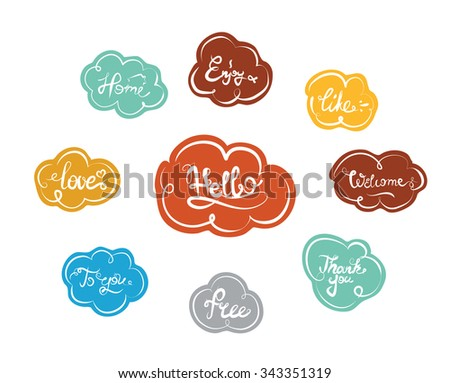 Hand drawn elegant catchwords for your design. Thank you, Free, Hello, Welcome, Enjoy, Home. Decorative colorful elements. Hand lettering. - stock vector