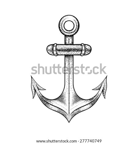 Hand drawn elegant ship sea anchor, black sketch for tattoos design or t-shirt print, dot work art. Vintage vector illustration isolated on white background. Nautical collection. - stock vector