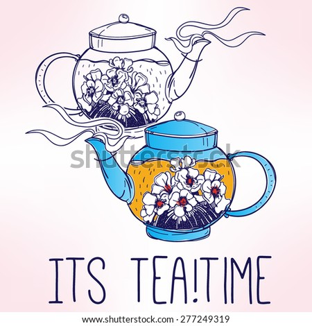 Hand drawn elegant vintage steaming teapot with tea and flowers. Isolated colorful vector illustration. Elements for party invitations, menu, tea parties  or greeting cards. Tea time.