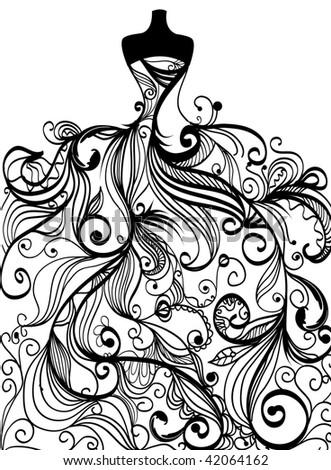 handdrawn elegant wedding dress in vector
