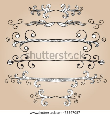 Hand-drawn elements and monograms for design and decorate. - stock vector