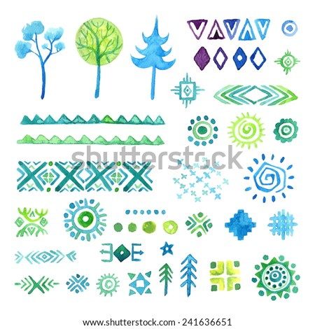Hand drawn elements set for ethnic pattern,  tribal vector seamless background. - stock vector