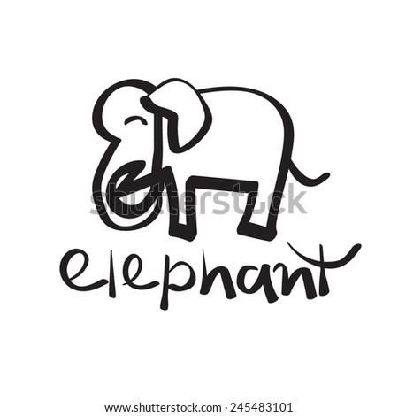 Hand drawn elephant cartoon, logo - stock vector