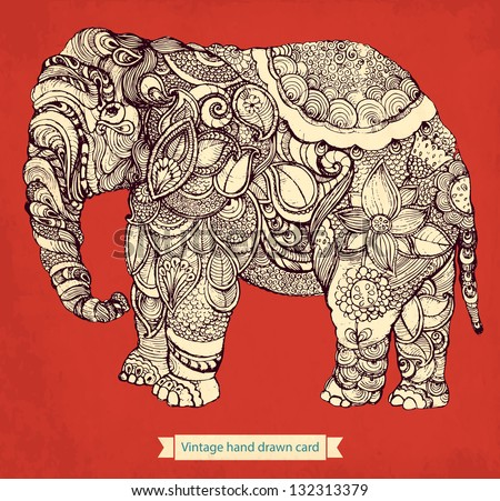 Hand drawn elephant with elements of a flower ornament - stock vector