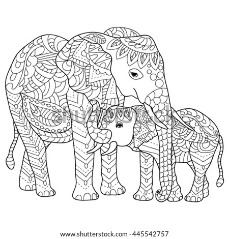 hand drawn elephants coloring page - Coloring Pages Indian Elephants