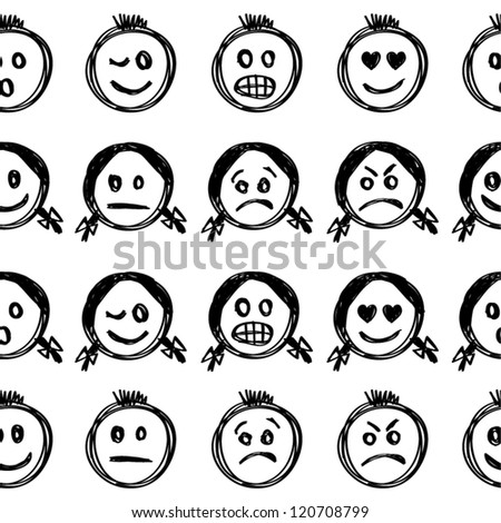 Hand drawn emoticons seamless pattern. - stock vector