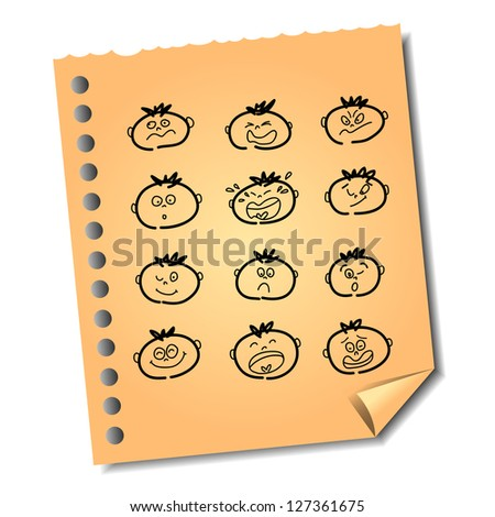 hand-drawn emotion face on recycle paper note vector for design and presentation - stock vector