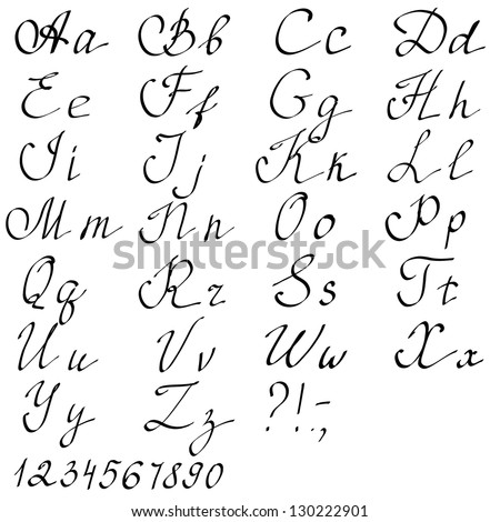 Hand drawn English alphabet letters. Vector illustration - stock vector
