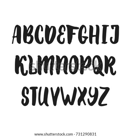 Hand Drawn English Lettering Alphabet With Examples Of This Font Modern Ink Brush Handwritten Letters