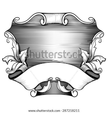 Hand drawn engraved logo, coat of arms background set with  heraldic plants and ribbons, shading shield - stock vector