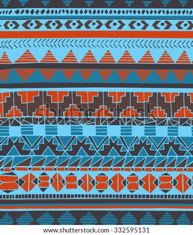 Hand drawn ethnic geometric seamless pattern. Aztec style pattern with triangle, arrow and line in blue, cyan and red colors