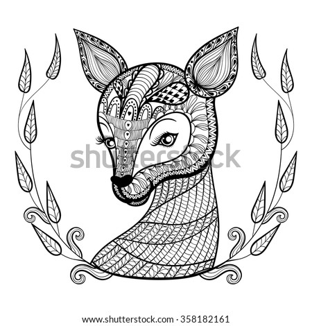Hand drawn ethnic ornamental patterned cute deer's face in floral retro frame in doodle, zentangle tribal style for adult coloring pages,artistically tattoo, t-shirt print. Vector animal illustration. - stock vector