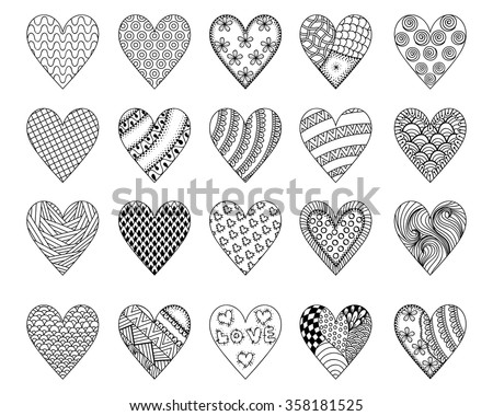 Hand drawn ethnic patterned hearts for St. Valentine's day in doodle, zentangle style for adult coloring pages, tattoo, t-shirt or prints. Decoration elements for postcard. Vector illustration. - stock vector
