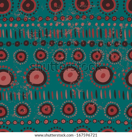 Hand drawn ethnic seamless pattern in African style. Endless tribal background in  turquoise and terracotta tones - stock vector