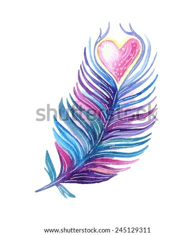 Hand drawn ethnic tribal feather with heart. Vector watercolor illustration. - stock vector
