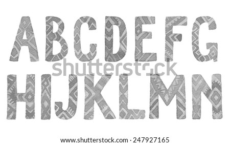 Hand drawn ethnic watercolor letters A-N,  Vector font. - stock vector
