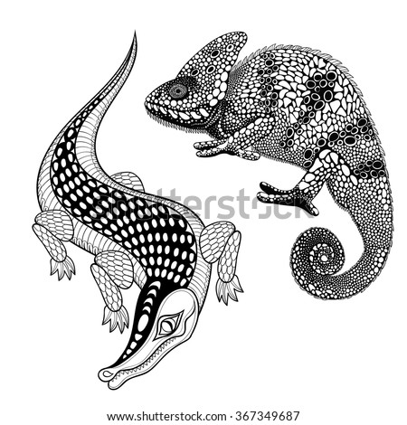 Hand Drawn Ethnic Zentangle Crocodile Chameleon For Adult Coloring Page In Doodle Design Style