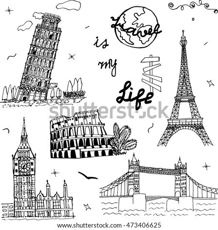 Hand drawn Europe architecture. Sketch art. Doodle symbol: Pisa, Eiffel, Colosseum, Big Ben, Tower Bridge. Set of the famous European monuments. Drawing collection travel design. Vector illustration.