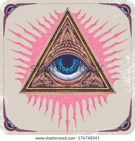 Hand-drawn Eye of Providence. - stock vector