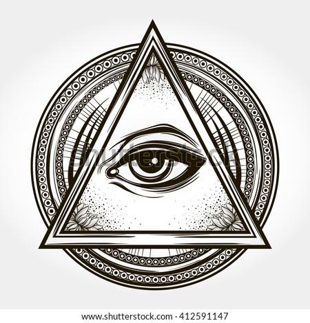handdrawn eye providence all seeing eye stock vector