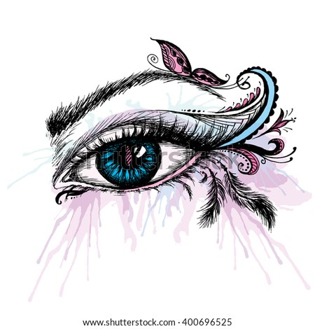 Hand drawn eye with make up, vector illustration - stock vector