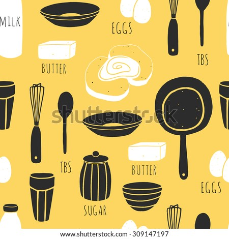 Beau Hand Drawn Fabric Design With French Toast Ingredients. Vector Cooking  Background. Doodle Seamless Pattern