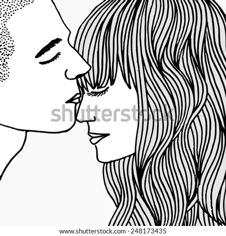 Hand drawn faces of a young couple - stock vector
