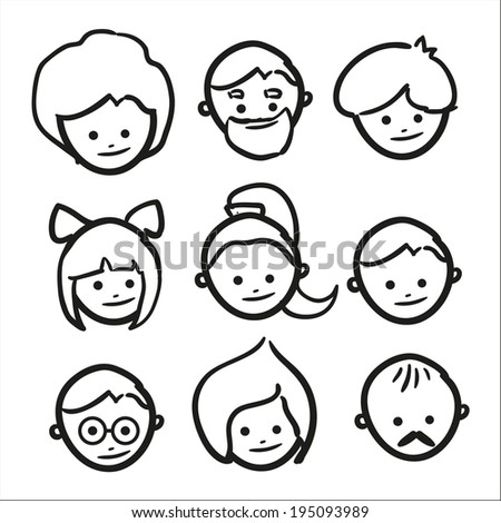 Hand drawn faces. Vector eps10 Can be used for avatars.