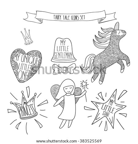 Hand drawn fairy tale icons for little baby. Template for coloring. Vector fairy tale set isolated on white. Vector illustration - stock vector