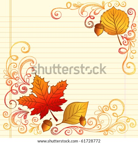 Hand-Drawn Fall / Autumn Season Sketchy Notebook Doodles with Maple Leaf, Acron, and Swirls- Vector Illustration Design Elements on Lined Sketchbook Paper Background - stock vector