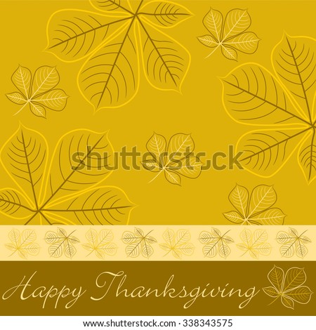 Hand drawn fall leaf Thanksgiving card in vector format - stock vector