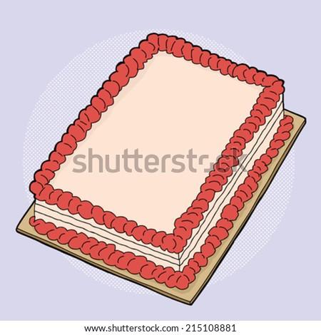 Hand drawn fancy strawberry sheet cake cartoon - stock vector