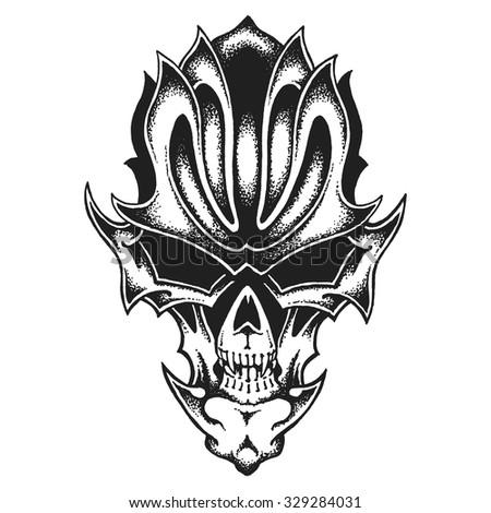 Hand drawn fantastic skull. Vector illustration - stock vector