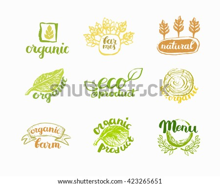Hand-Drawn farm fresh logo set. Label collection of organic eco company, vegetarianets, bio labels. For vegetarian restaurant, vegan cafe menu, restaurant menu, organic shops, markets. Inc lettering - stock vector