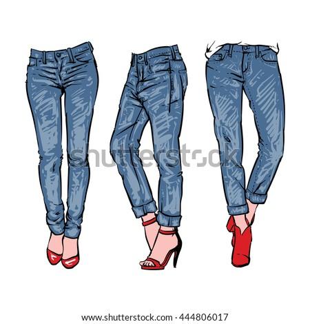 Hand Drawn Fashion Design Mens Jeans Stock Vector 444806017 - Shutterstock
