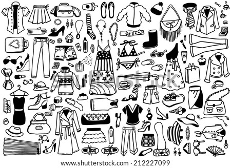 hand-drawn fashion doodles collection - stock vector