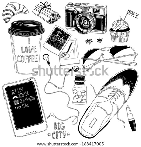hand-drawn fashion elements - stock vector