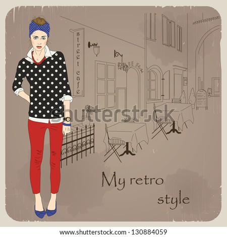 hand drawn fashion girl on city background eps 10 - stock vector