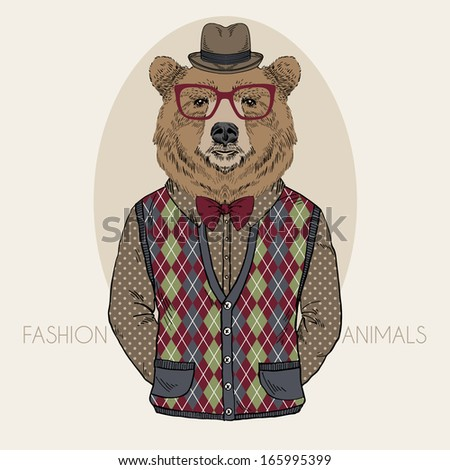 Hand Drawn Fashion Illustration of Bear in colors - stock vector