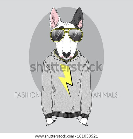 Hand drawn fashion illustration of bull terrier in hoodie and sunglasses  - stock vector