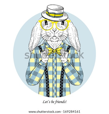 Hand Drawn  fashion illustration of Bunny Hipster  - stock vector