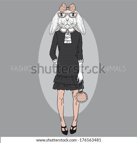 Hand drawn fashion illustration of cute bunny girl in colors - stock vector
