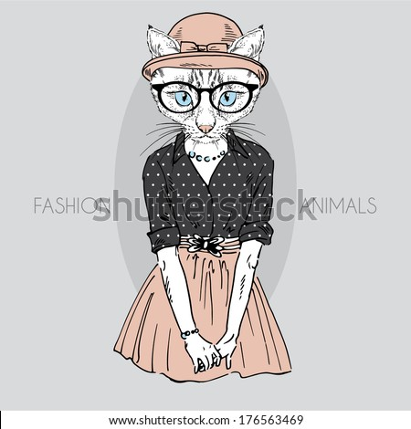 Hand drawn fashion illustration of cute cat girl in colors - stock vector