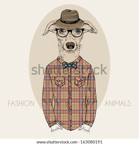 Hand Drawn Fashion Illustration of Doggy Hipster in colors - stock vector