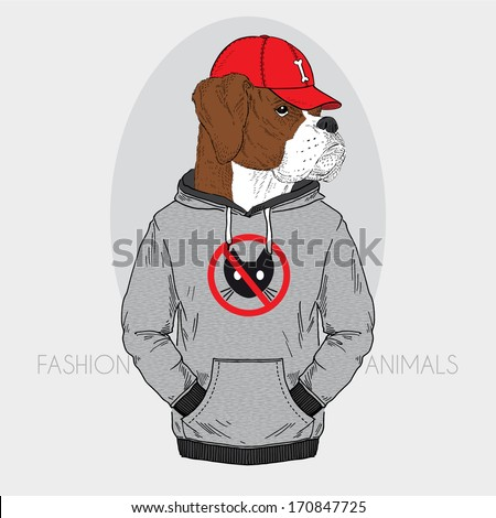 Hand drawn fashion illustration of dressed up boxer - stock vector